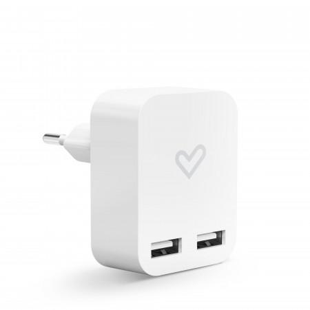 Energy Home Charger 2.4A Dual USB fehér univerzális töltő 2 USB porttal